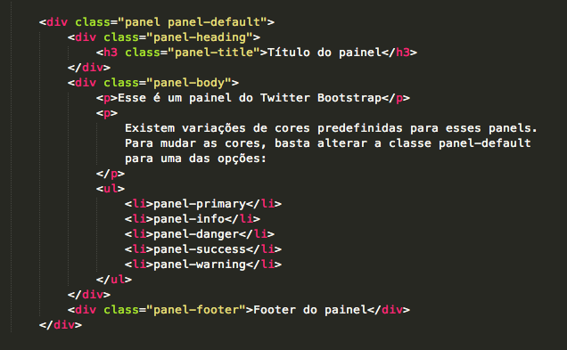 Código para criação de um panel no Bootstrap.