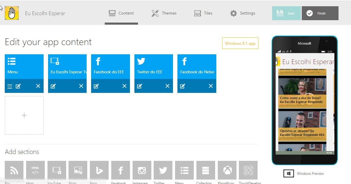 Ambiente de desenvolvimento da App Studio