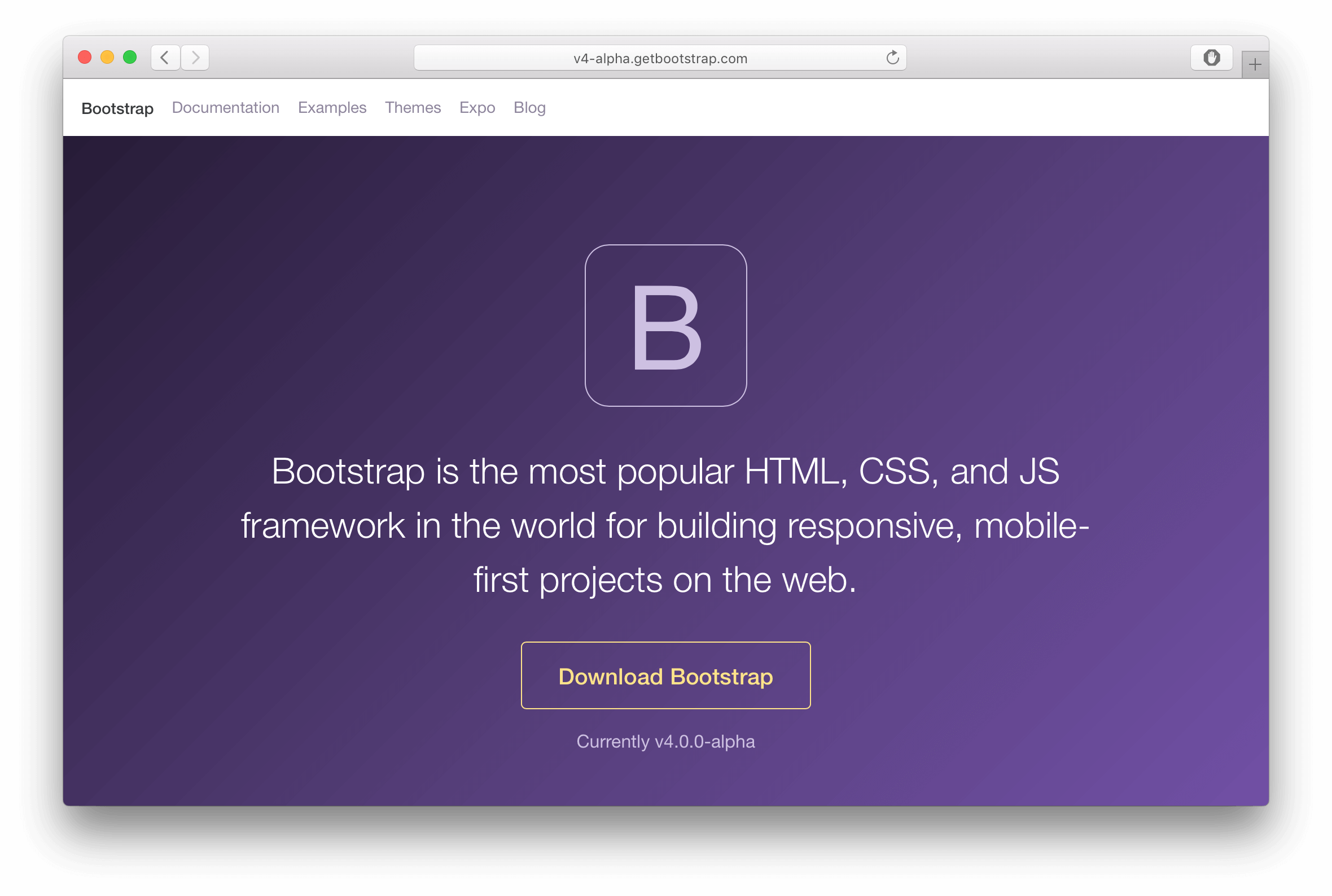 Homepage do Bootstrap 4 Alpha