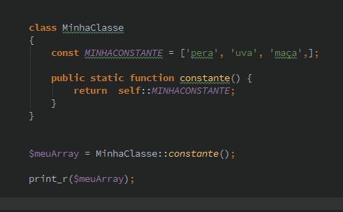 Constant Class PHP com array