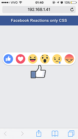 facebook reactions com css by Deivid Marques