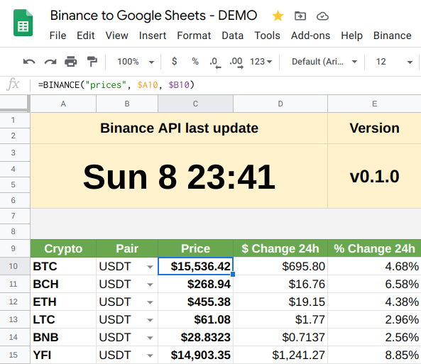 Binance to Google Sheets DEMO - Prices list