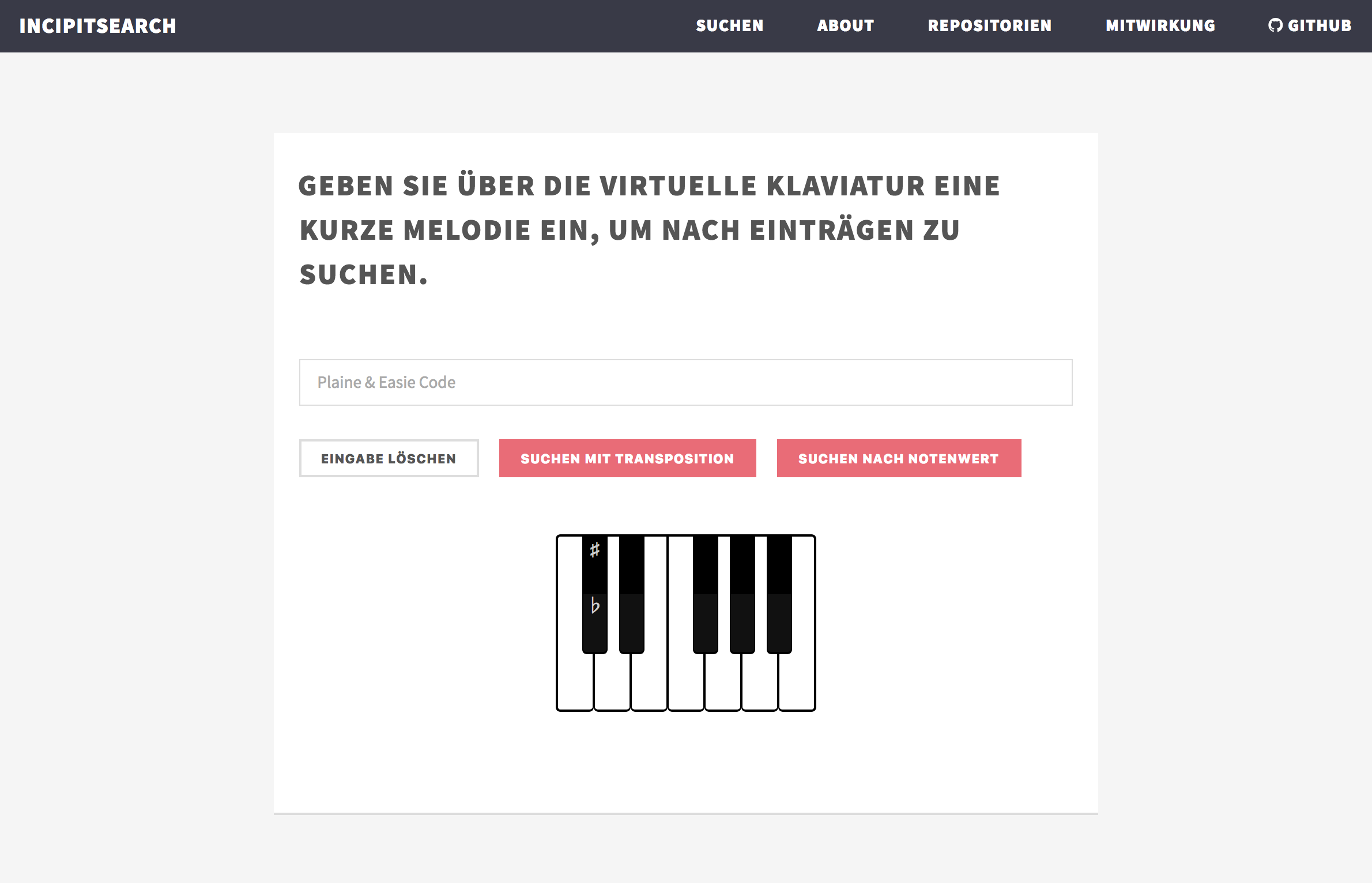 Screenshot of music incipit search engine and platform IncipitSearch