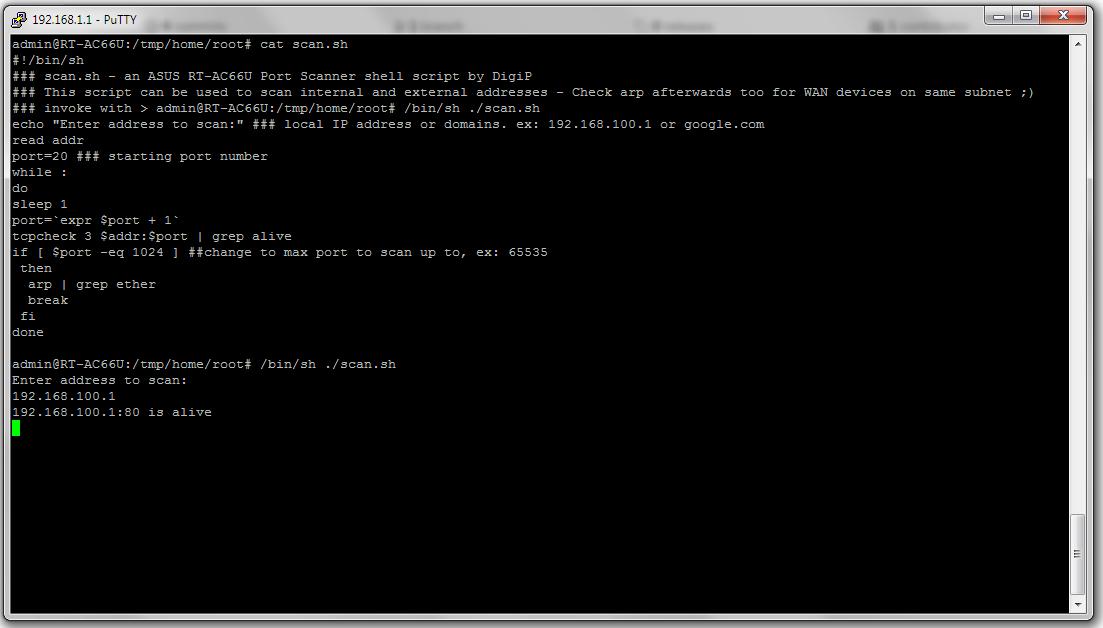 ASUS RT-AC66U Port Scanner shell script - Applications