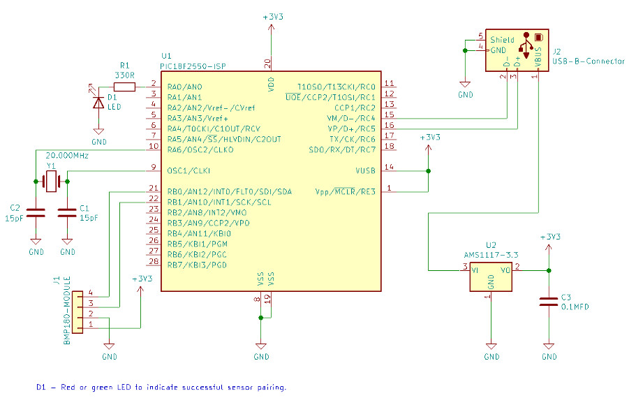 Schematic of BMP180 monitor