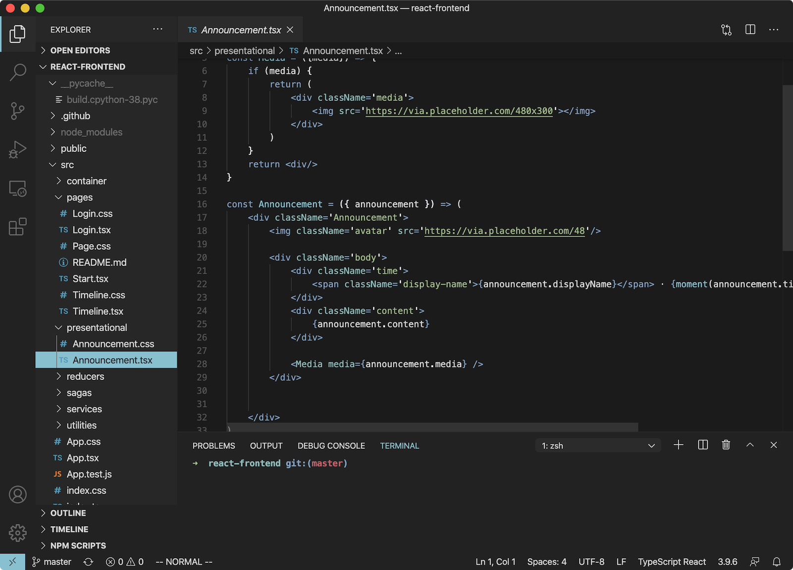 Screenshot of the nord native theme applied to visual studio code