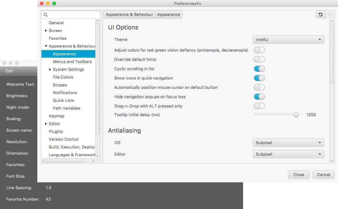 screenshot of created preferences dialog
