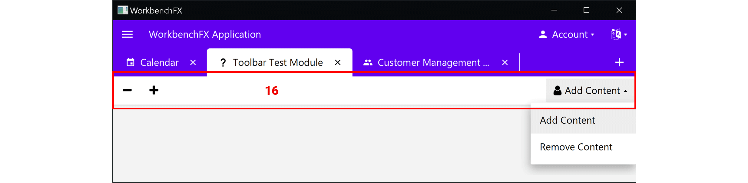 screenshot of the moduleToolbar