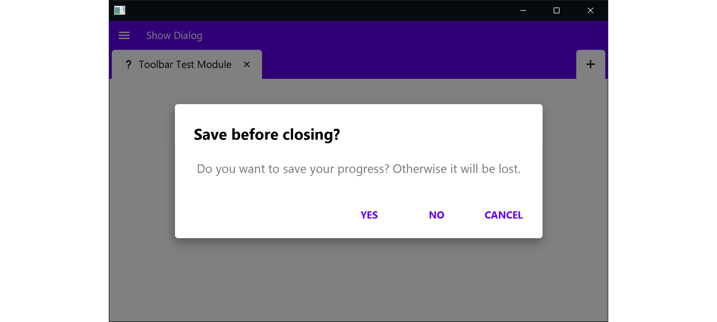 Image of a dialog which asks about saving before closing the module