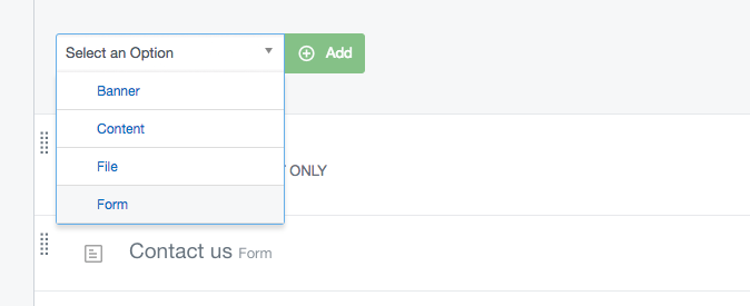 Adding a Form element in the CMS
