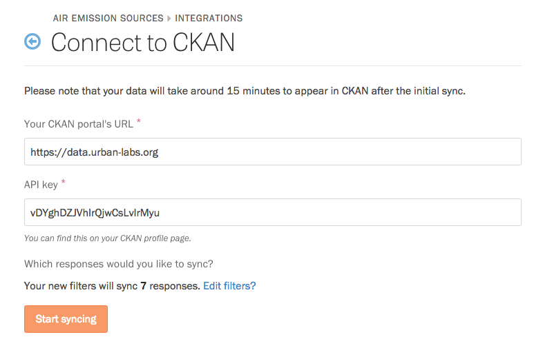 The Connect to CKAN page.