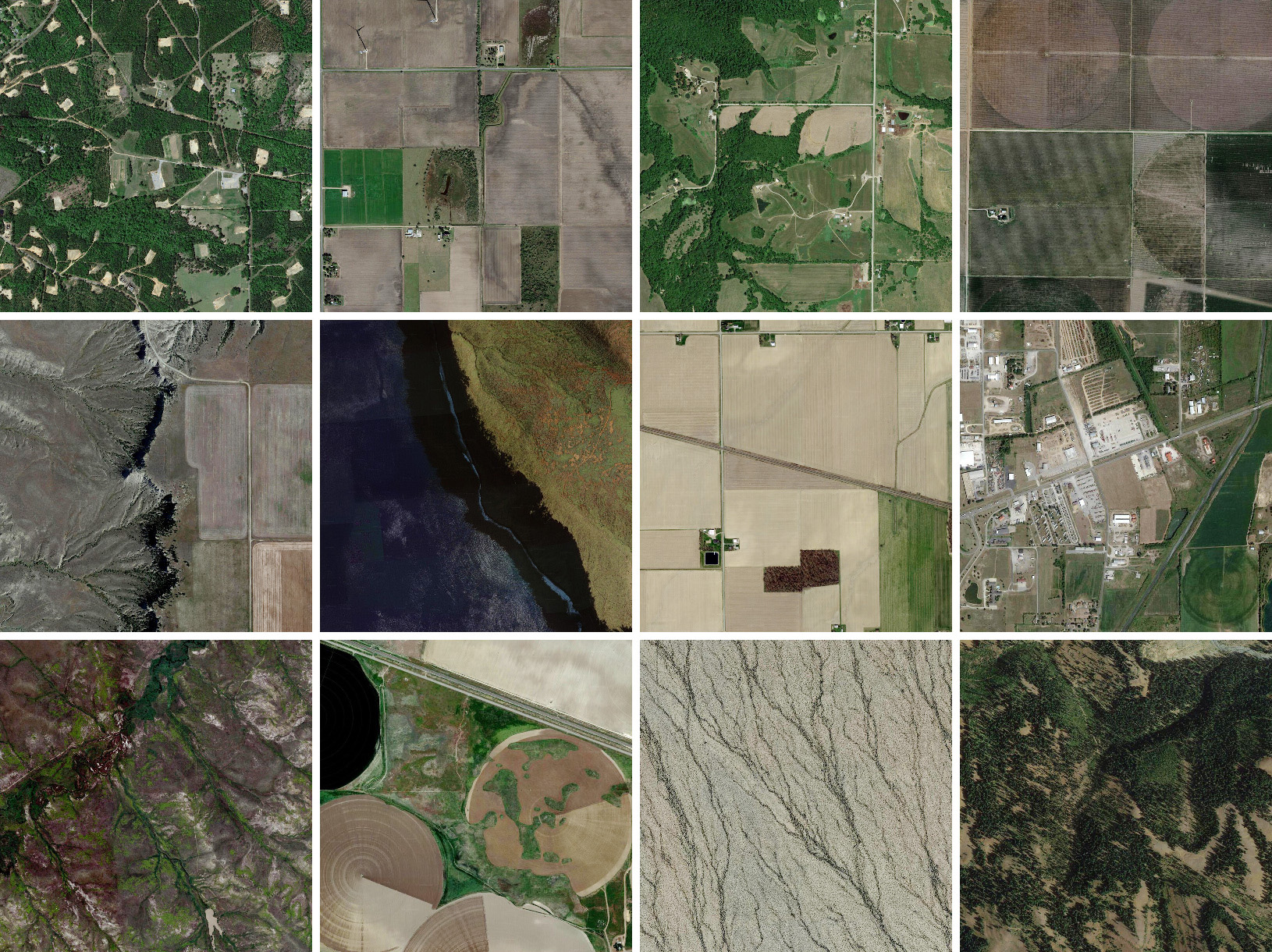 One square mile each, somewhere in the United Sates, centered around (from top left to bottom right): 31.056747601478456,-89.61225567756193; 26.44943037843055,-97.69999657039938; 39.32223925968352,-95.06302508257909; 33.830621832157895,-102.7345327711916; 46.149781016546264,-108.95292330126662; 20.755048248172997,-156.98230879693344; 41.21859102806858,-83.97344375576749; 36.89466223259036,-89.52366337871948; 36.07100491499848,-115.26963797305373; 42.87888803844798,-113.90920385179305; 33.90737575723908,-113.46512478011427; 45.009510867796266, -117.01147828430616