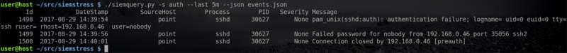 Parsed event table screenshot
