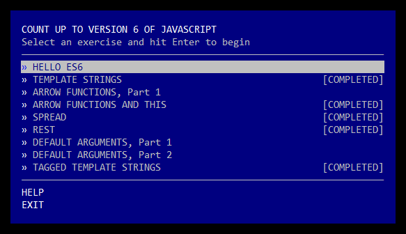 A screenshot of the main Count to 6 menu