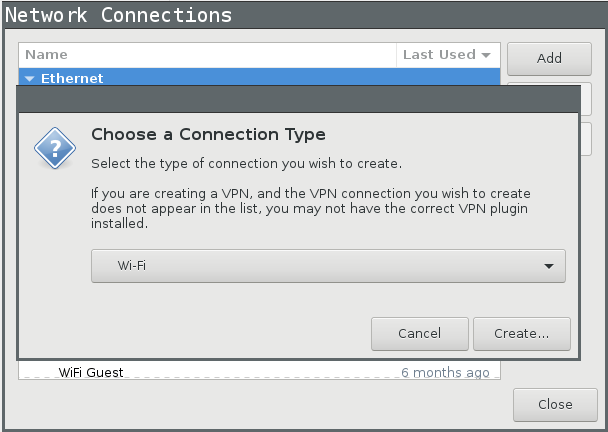 nm-applet Connection Type