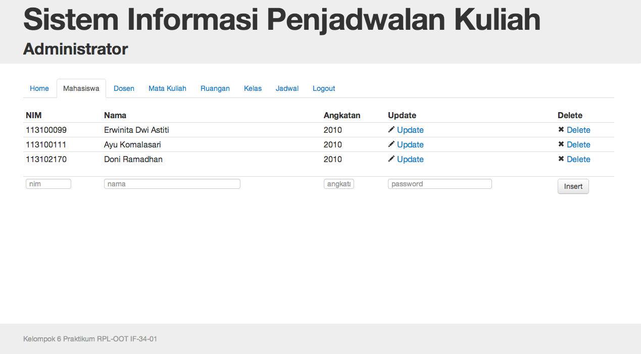 Sistem Informasi Penjadwalan Kuliah Berbasis Web