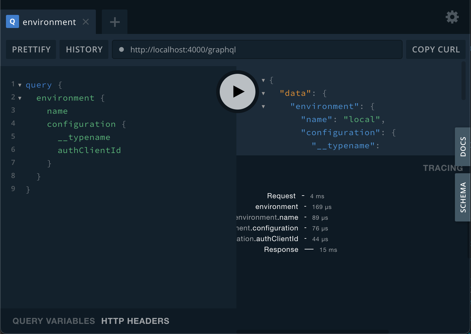 Example for using ApolloTracing with Playground