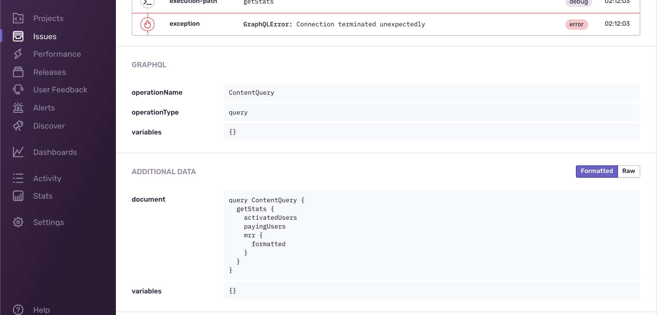 Example reported error on sentry
