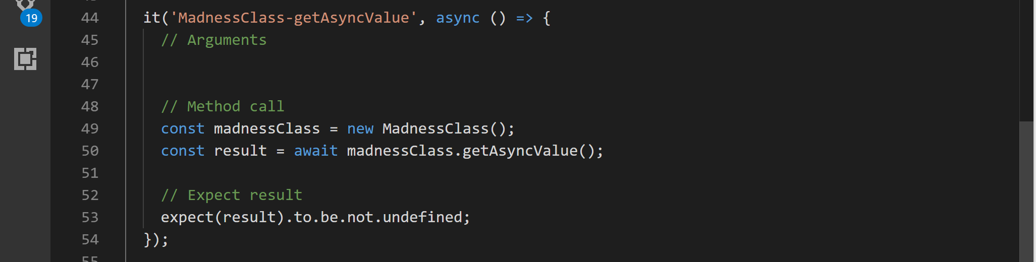 Async method test with return value