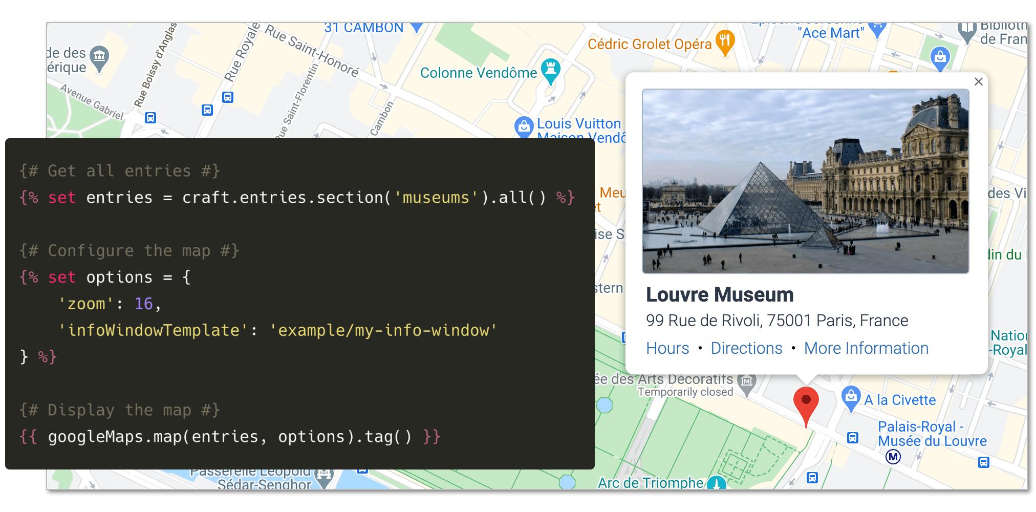 Screenshot of a dynamic map