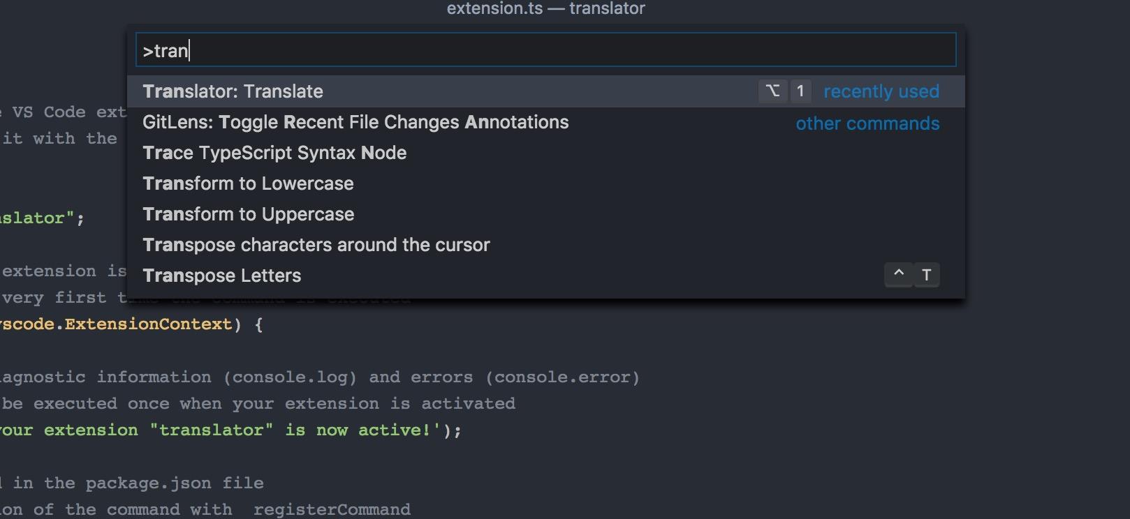 Type translate command