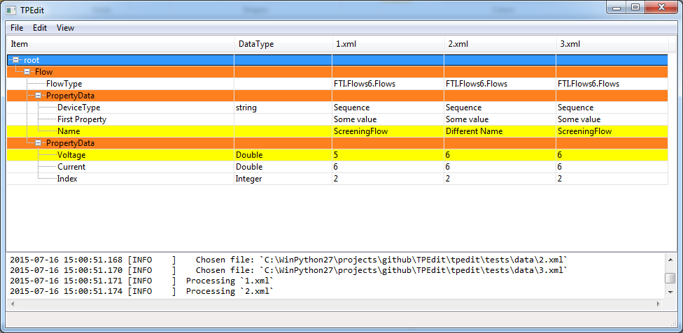 Basic TPEdit interface.
