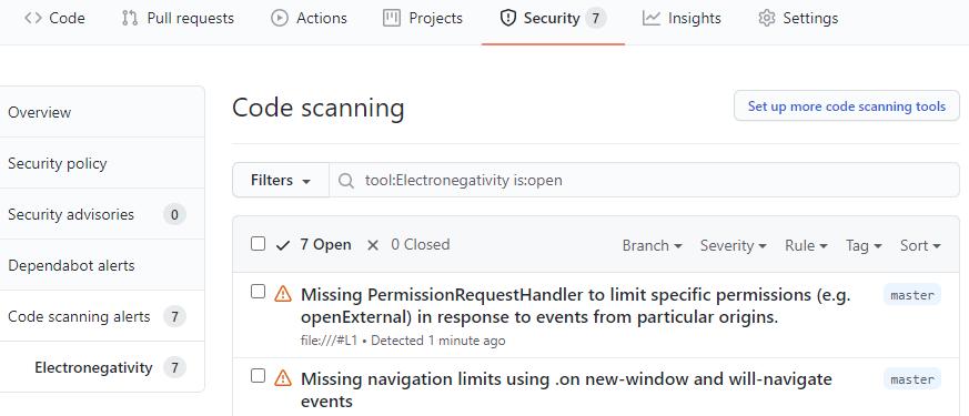 Code scanning alerts