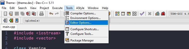 Tools menu on the IDE