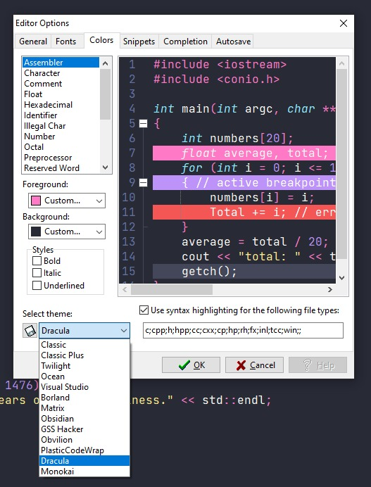 Setting up Dracula as the theme in the colors tab