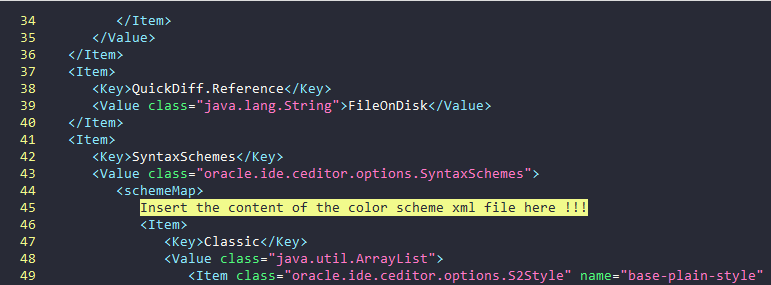 Insert the contents of color scheme xml file after opening schemeMap tag