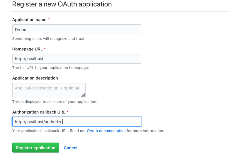 GitHub OAuth Application registration form