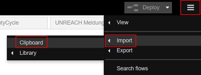 Aufruf des Import