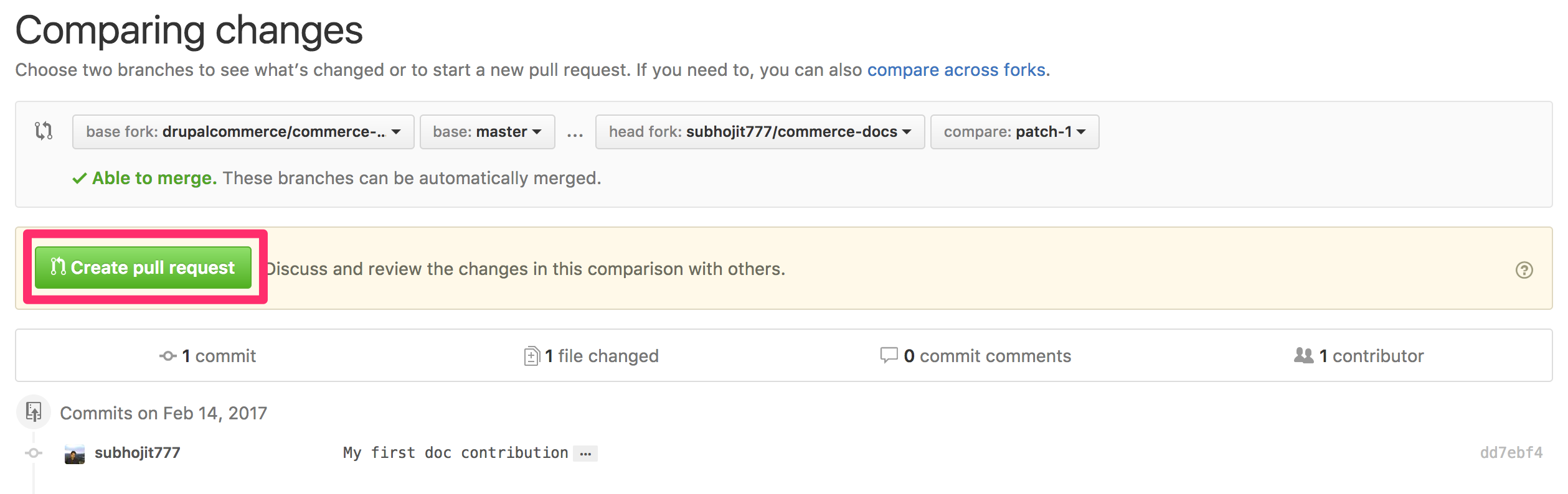 GitHub doc create pull request
