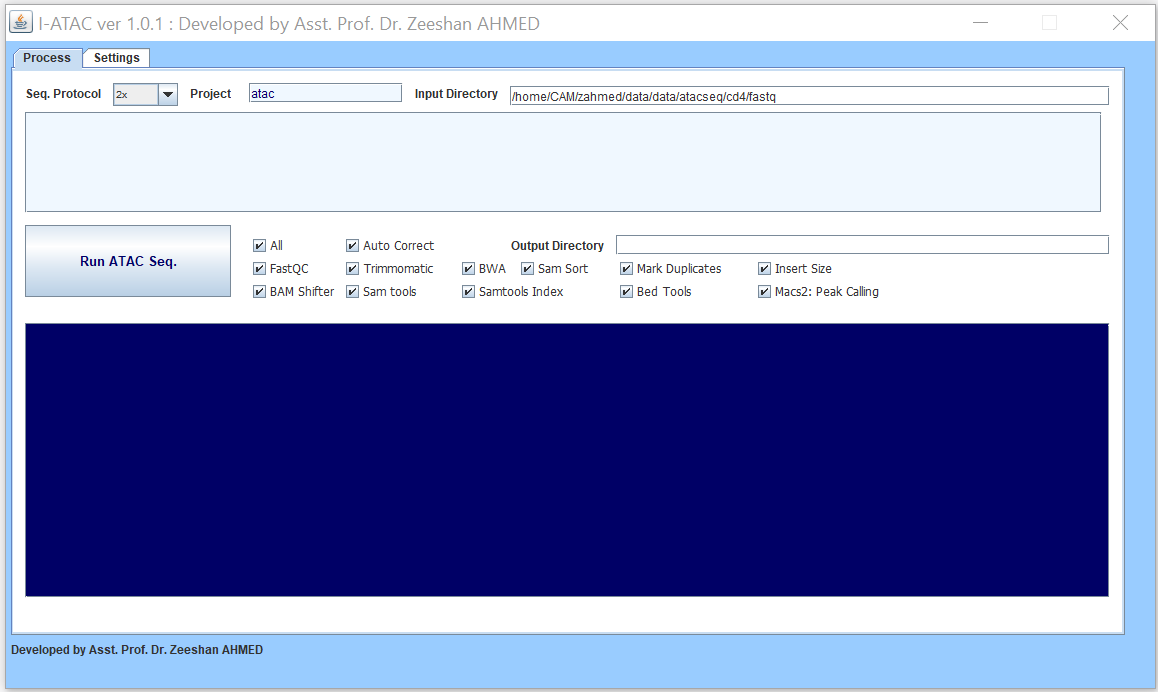 Graphical User Interface of Processing module of I-ATAC: Create and run data processing jobs.