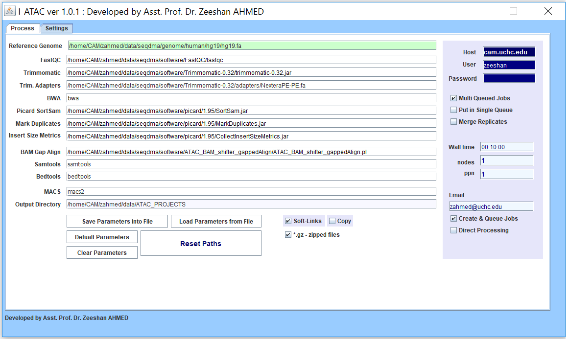 Graphical User Interface of Settings module of I-ATAC: Set parameters and user credentials.