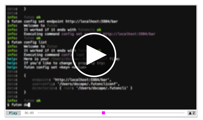 play futon command line client video in codestream