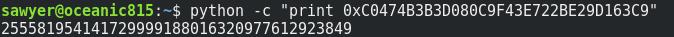 Python hex to decimal