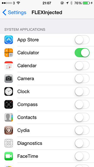 Settings flex App