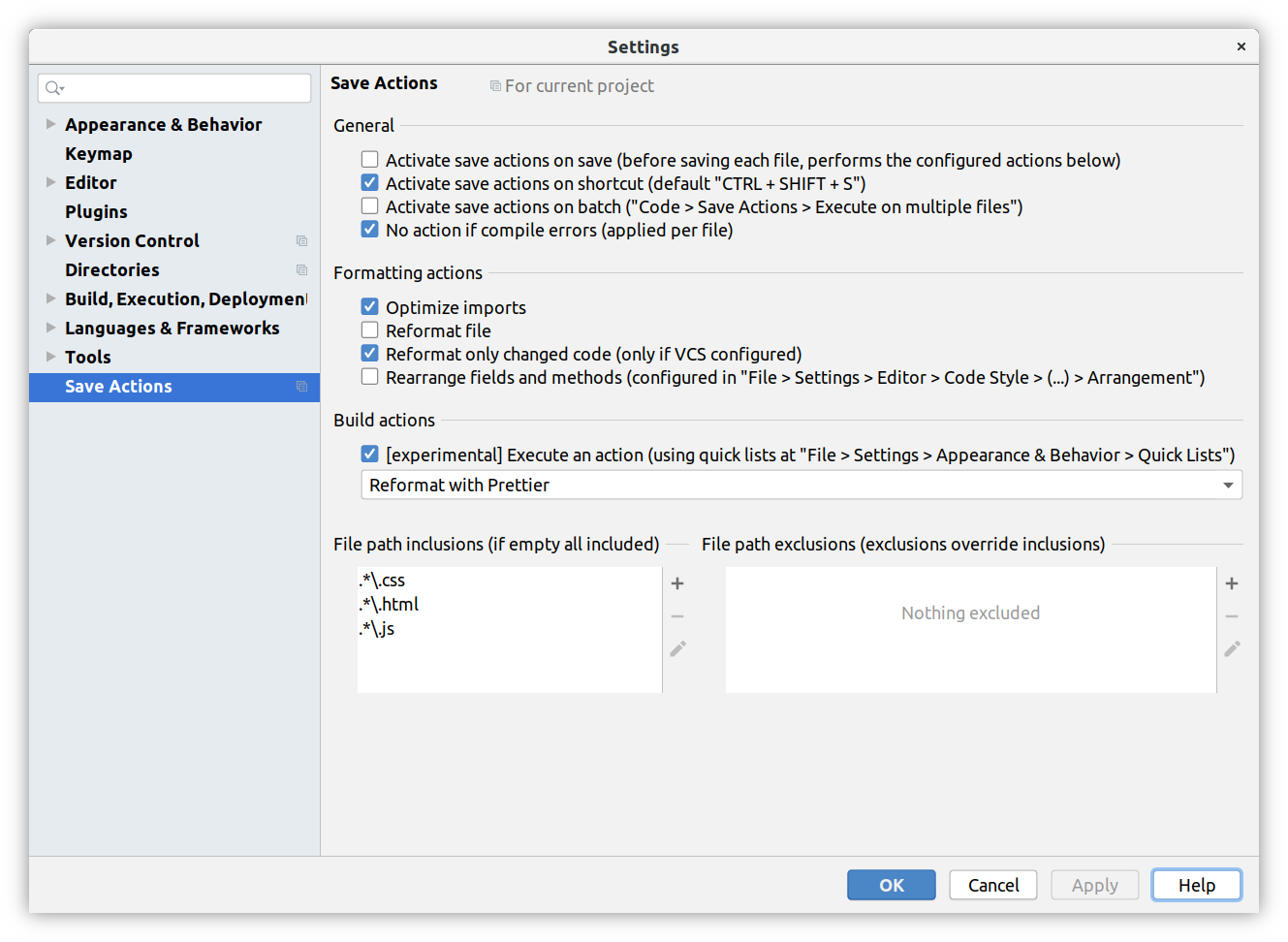 Save actions plugin settings page