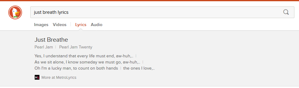 Lyrics Search Example