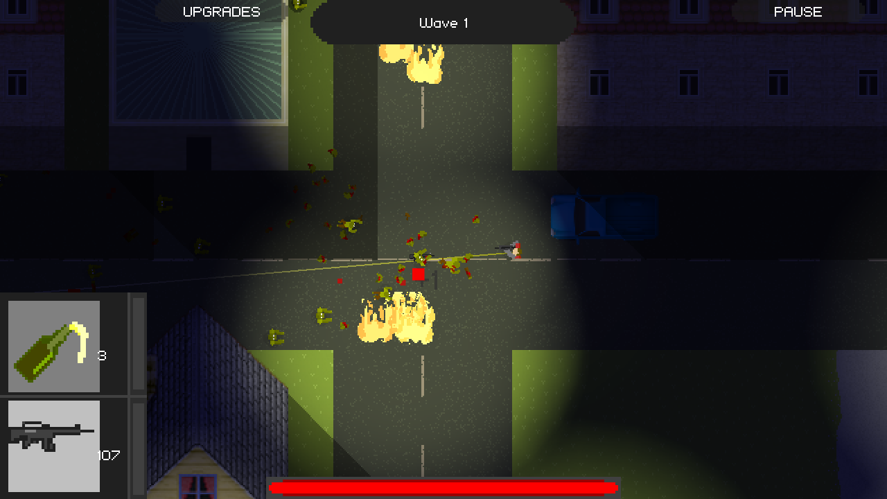Screenshot of Player mowing down zombies