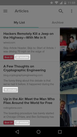 Tags on each article