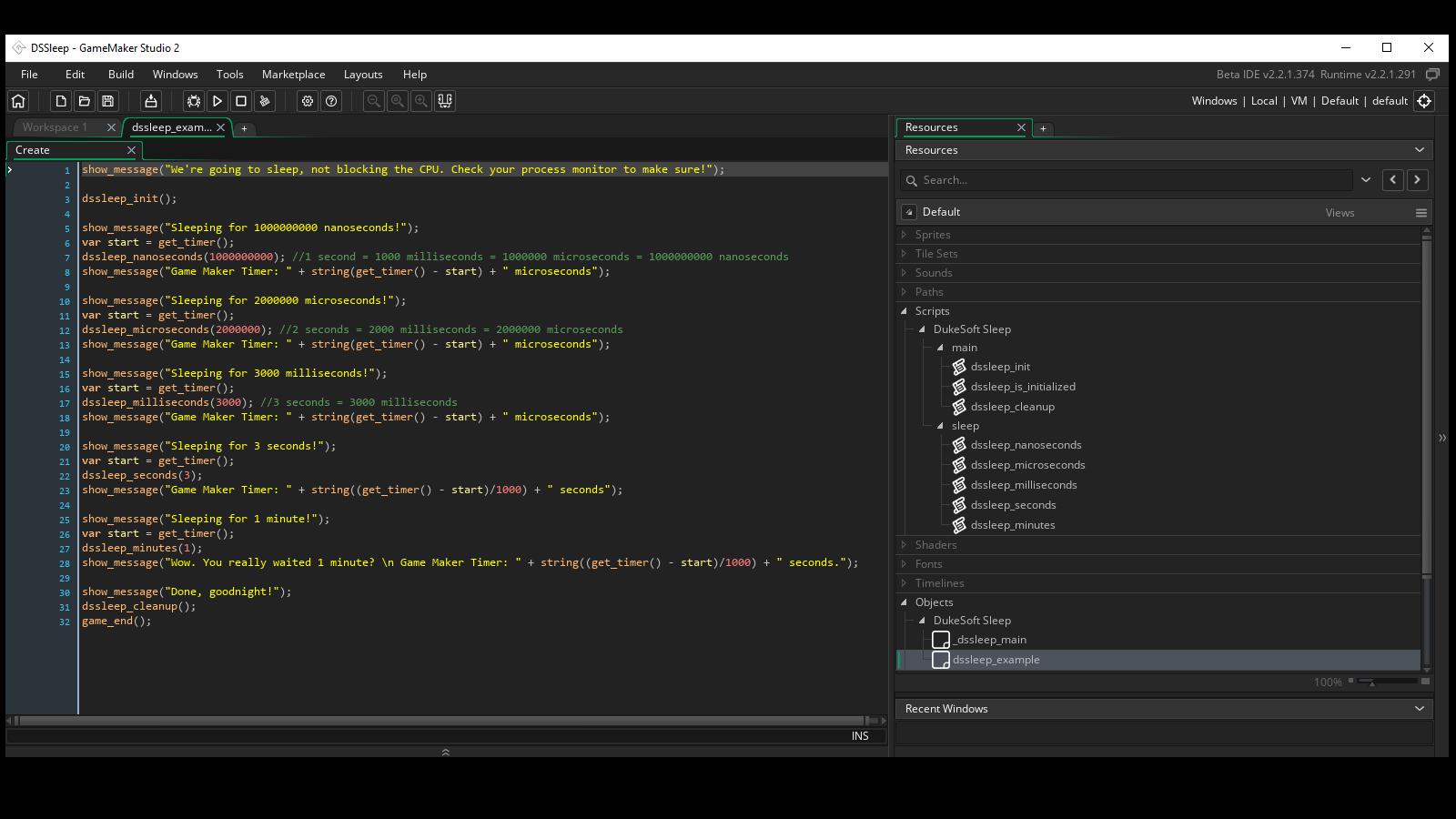 Screenshot of usage