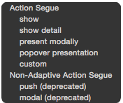 Selecting the Segue Type
