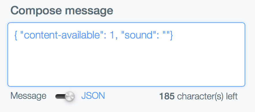Silent Notification JSON Payload Message