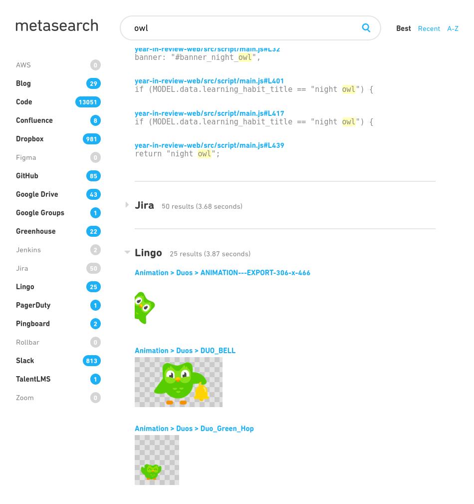 Metasearch screenshot