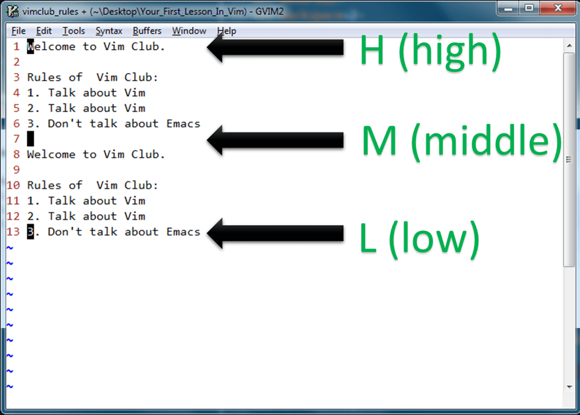 vim hml motions