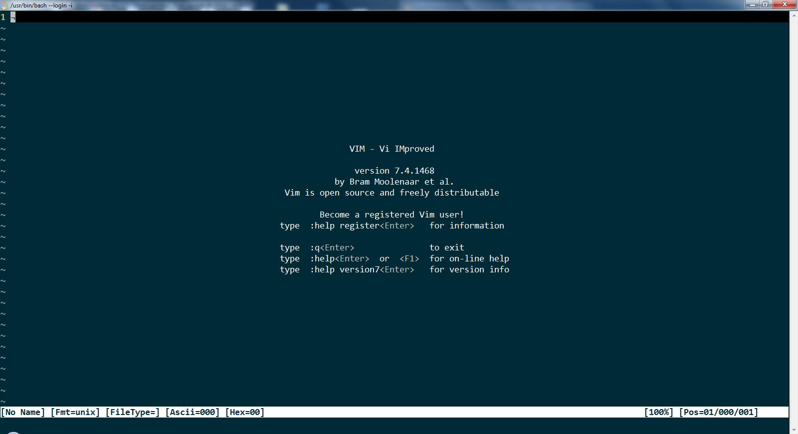 Vim start screen image here