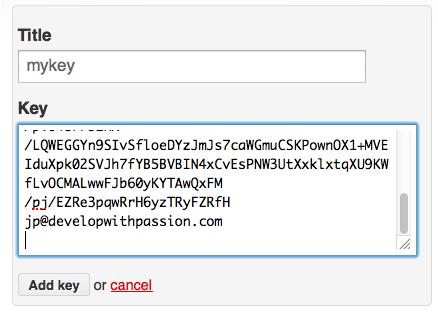 ssh key entry