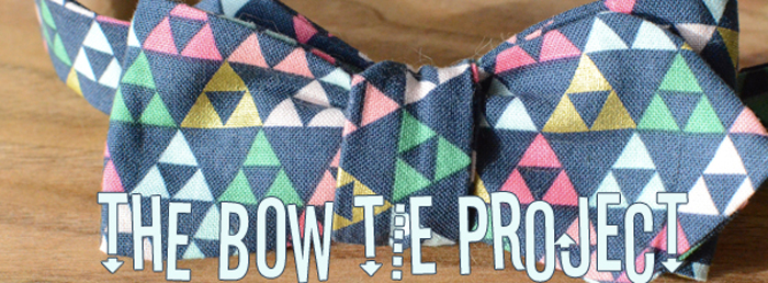 Navy with colored triangles Bow Tie